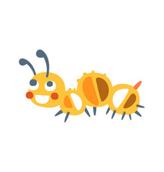cute cartoon caterpillar colorful character vector image