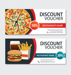 Discount voucher fast food template design set of vector
