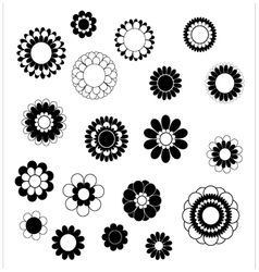 Flower petals overlapping black and white vector