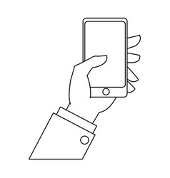 Hand businessman with smartphone device outline vector