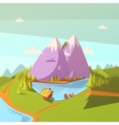 Hiking at a lake background vector