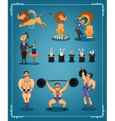 Magician animal trainer and strongman vector image