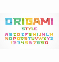 origami style font alphabet and numbers vector image vector image