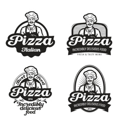 pizza logo cafe food pizzeria vector image vector image