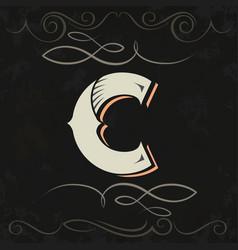 Retro style western letter design letter c vector