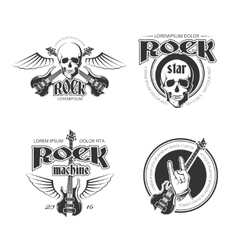Rock music vintage emblems labels badges vector image vector image
