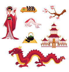 set of cartoon japanese culture elements symbols vector image