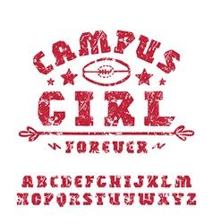 Slab serif font hand drawn girl vector