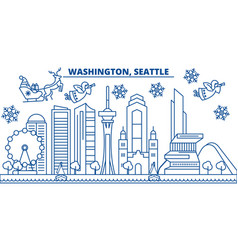 Usa washington seattle winter city skyline vector