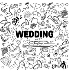 Wedding line art design vector image