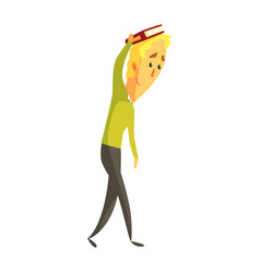 Young blond man standing and holding a book on his vector
