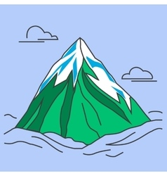Green mountain with snowy peak and clouds vector