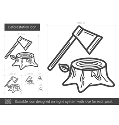 Deforestation line icon vector image