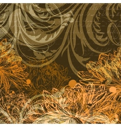 Autumn handdrawn background with chrysanthemum vector image