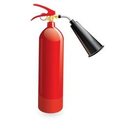 Red metal glossiness fire extinguisher vector