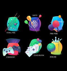 Darts and ping pong sport bowling and pool poker vector