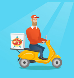 Man delivering pizza on scooter vector