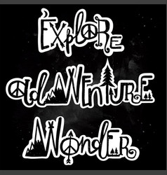 Wonder adventure and exploration lettering set vector