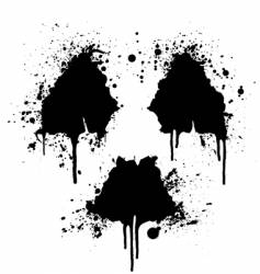 Radioactive symbol ink splatter vector