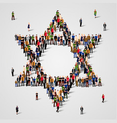Large group of people in the star of david shape vector