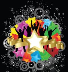 Retro party stars vector