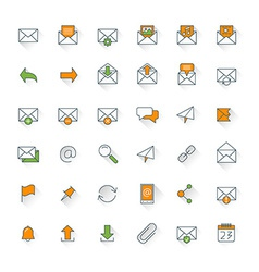 Email flat design icon set envelope link download vector