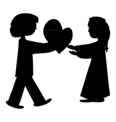 Silhouette of a boy and girl vector