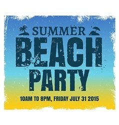 Summer beach party poster with retro blue and vector