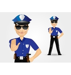 Policeman with sunglasses showing stop gesture vector