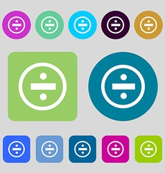 Dividing icon sign 12 colored buttons flat design vector
