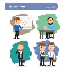 Cartoon businessman set vector image