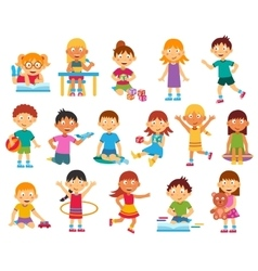 Kids silhouettes set vector