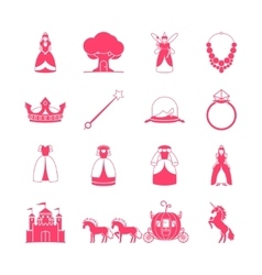 Princess fairytale icon set vector image