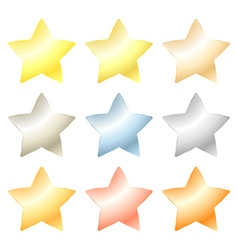 set of star of platinum gold white gold silver vector image