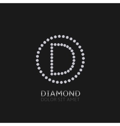 D letter with diamonds vector