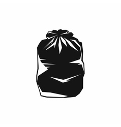 Black trash bag icon simple style vector