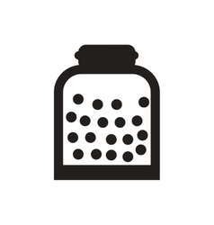 black icon on white background candy in jar vector image