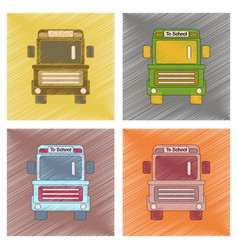 Assembly flat shading style icon school bus vector