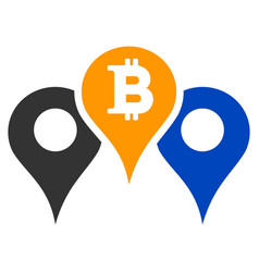Bitcoin map pointers flat icon vector