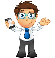 Business Man Unsure With Mobile vector image vector image