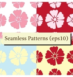 Cherry blossom flowers seamless patterns set vector
