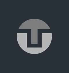 Circle t abstract logo vector