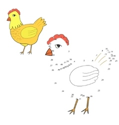 Connect the dots game hen chicken vector image