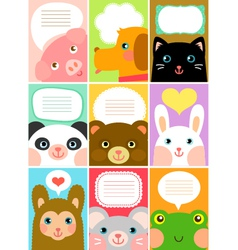 cute animal labels vector image vector image