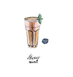 glass of mocco mint watercolor vector image vector image