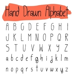 Handwritten simple alphabet set vector image vector image