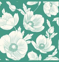 Hellebore poppy flowers seamless pattern teal blue vector