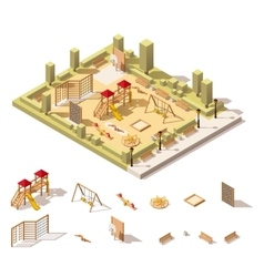 Isometric low poly playground icon vector
