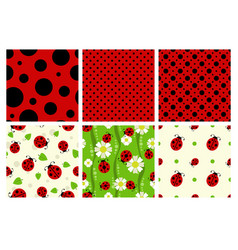 ladybug patterns set vector image vector image