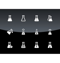 Medical lab flask icons on black background vector